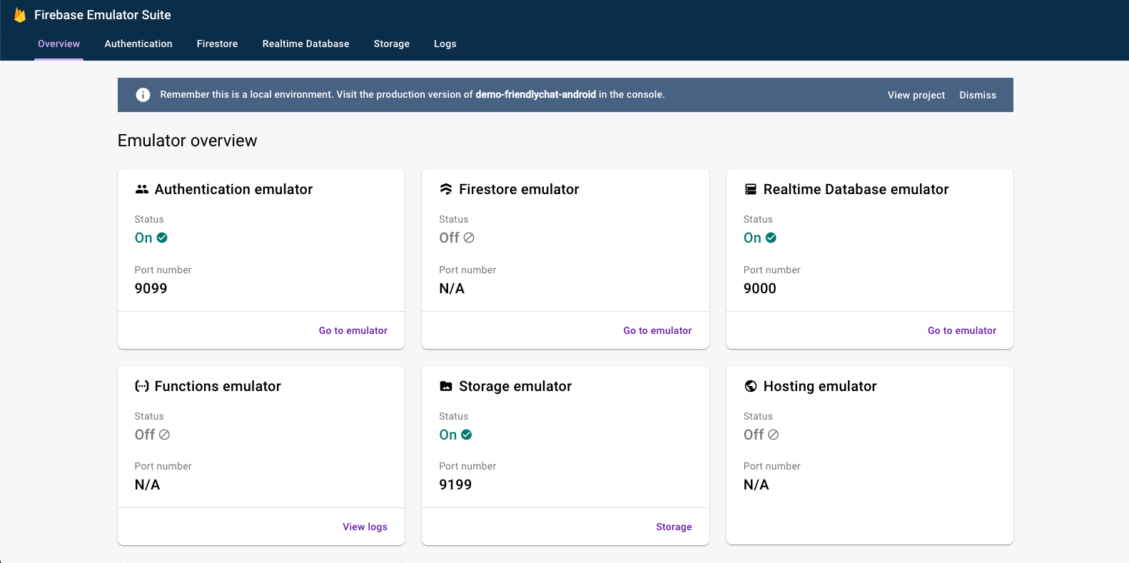 Emulator Suite UI ana sayfası