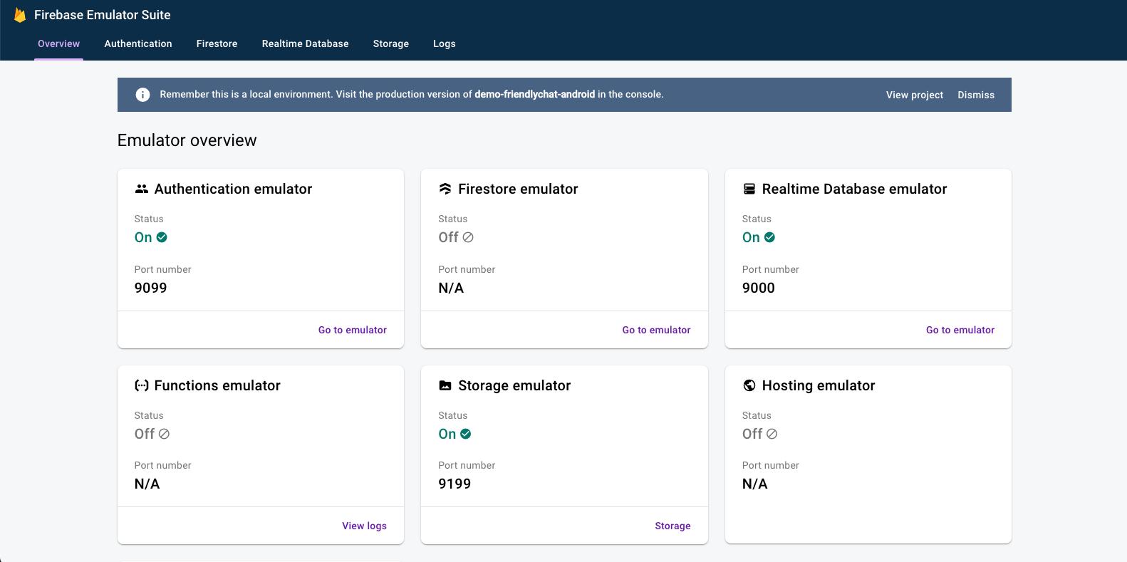 Emulator Suite-UI-Startseite