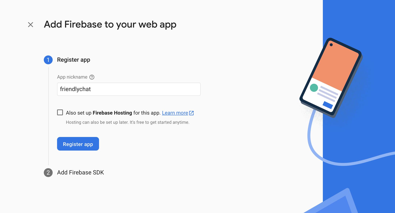Captura de tela do registro do aplicativo da web