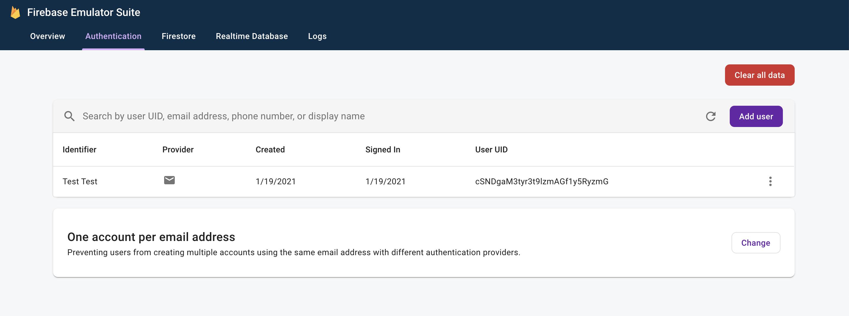 Emulador de autenticación de Firebase