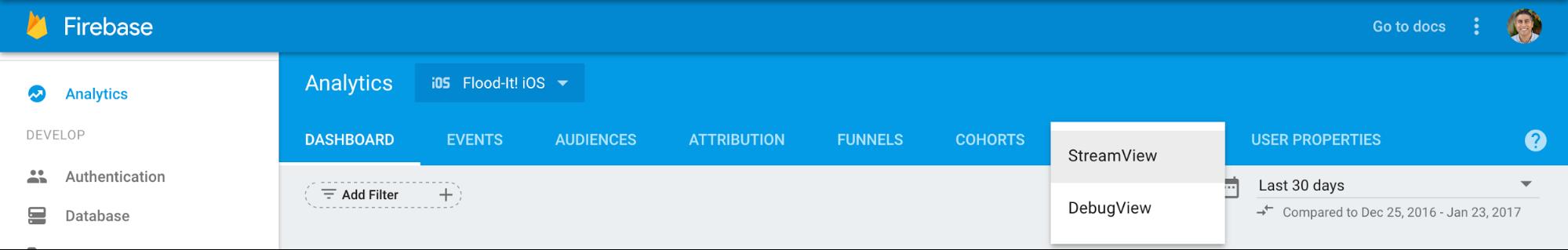 Buka DebugView dengan memilih tanda panah di samping StreamView pada nav teratas Google Analytics for Firebase lalu memilih DebugView.
