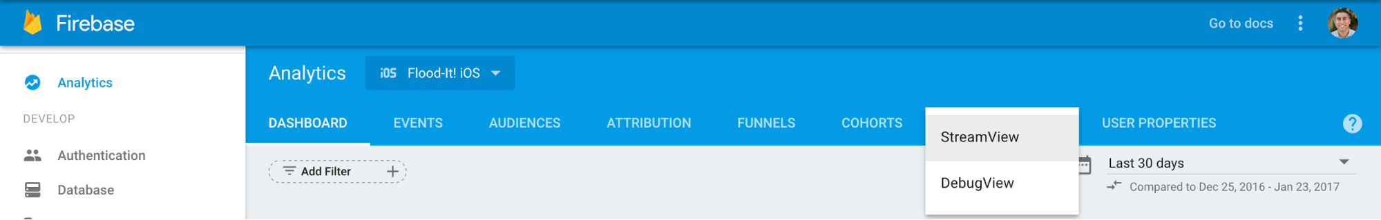 Firebase용 Google 애널리틱스의 상단 탐색 메뉴에서 StreamView 옆의 화살표를 클릭하고 DebugView를 선택하여 DebugView로 이동