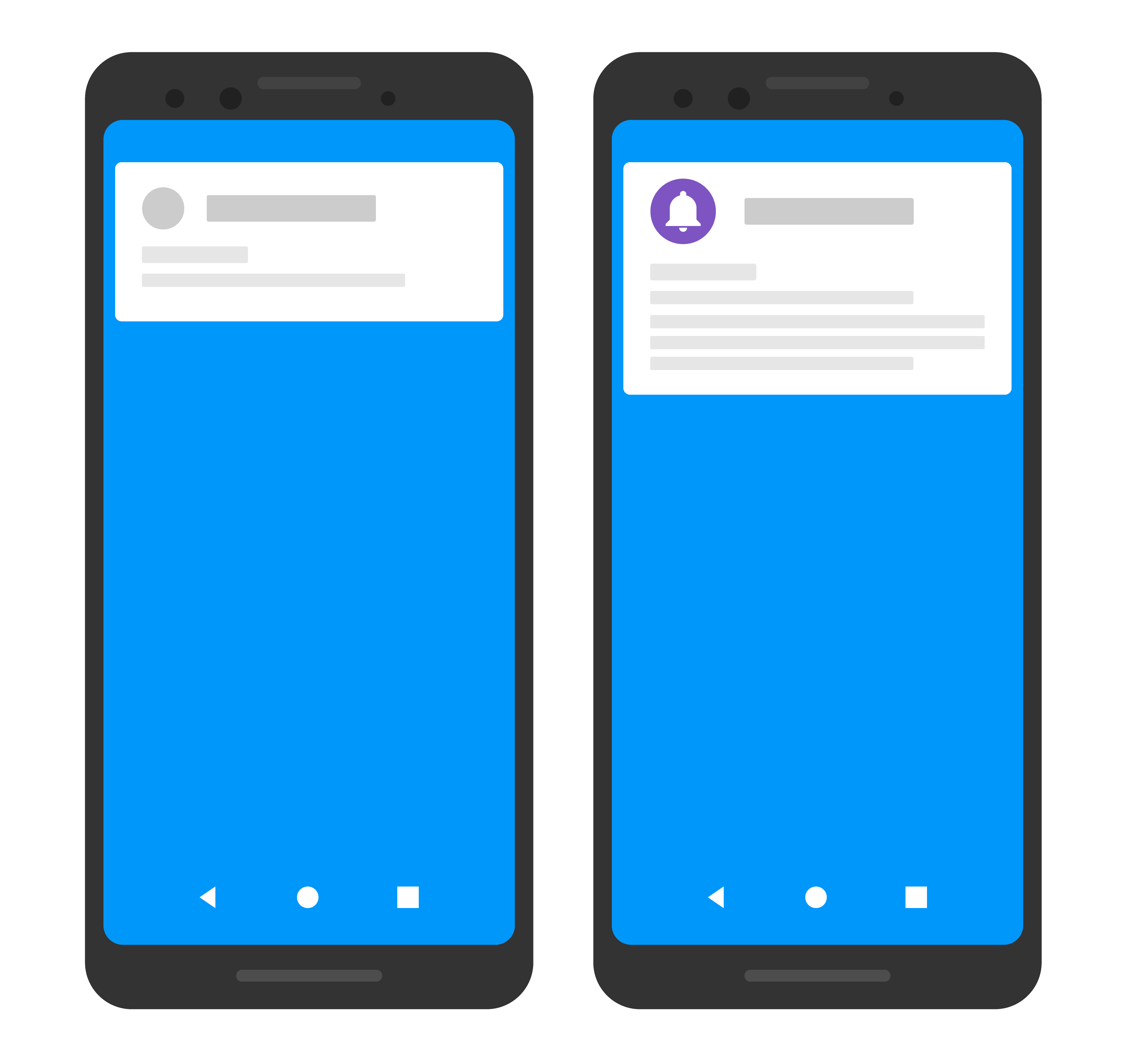 Dibujo simple de dos dispositivos, uno muestra un ícono y un color personalizados