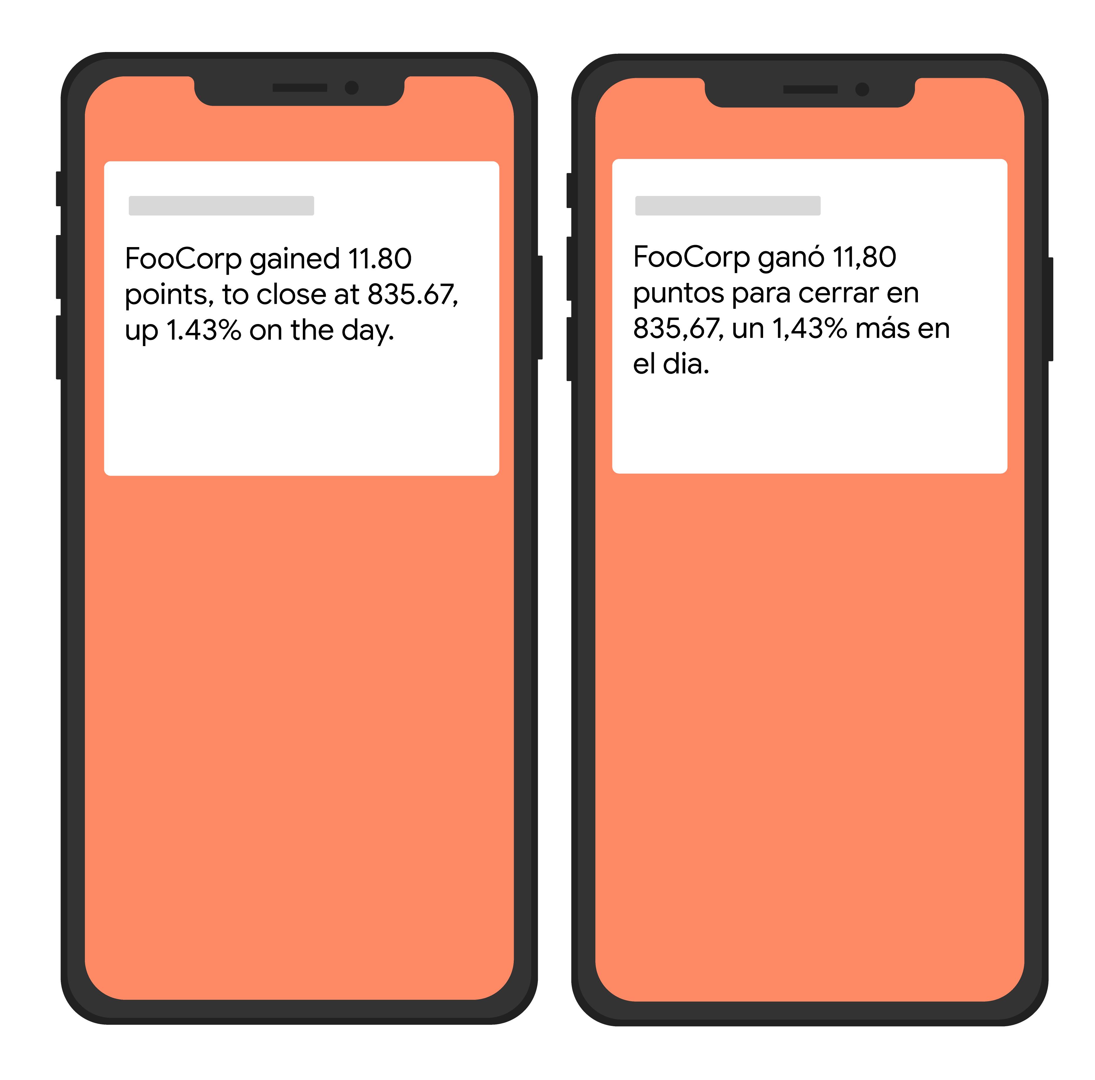 Простой рисунок двух устройств, отображающих текст на английском и испанском языках.