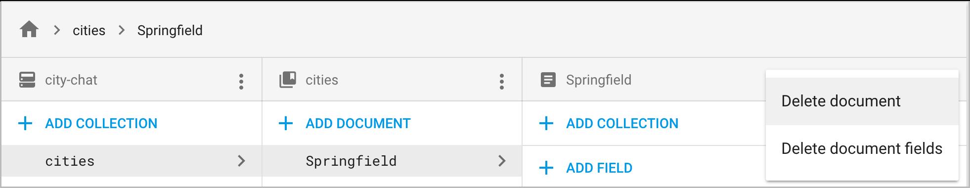 """从文档详细信息列的上下文菜单中点击""""删除文档""""或""""删除文档字段"""""""