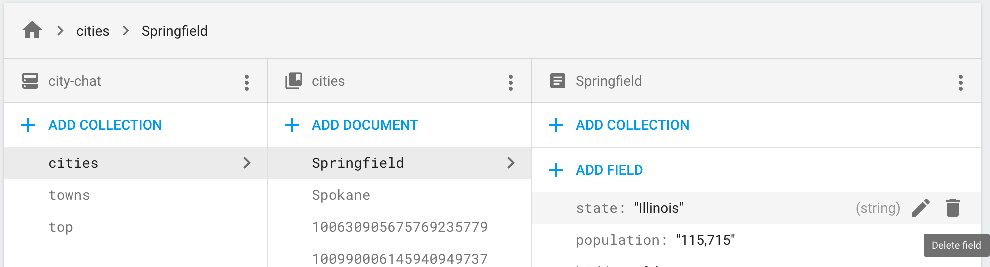 Click the delete icon to remove a field from a document