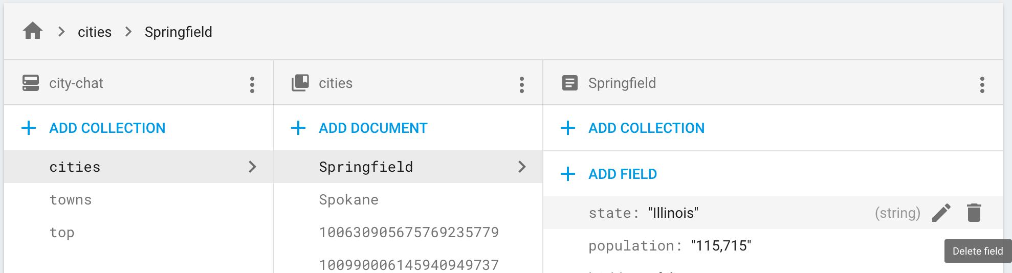 Clique no ícone de exclusão para remover o campo de um documento