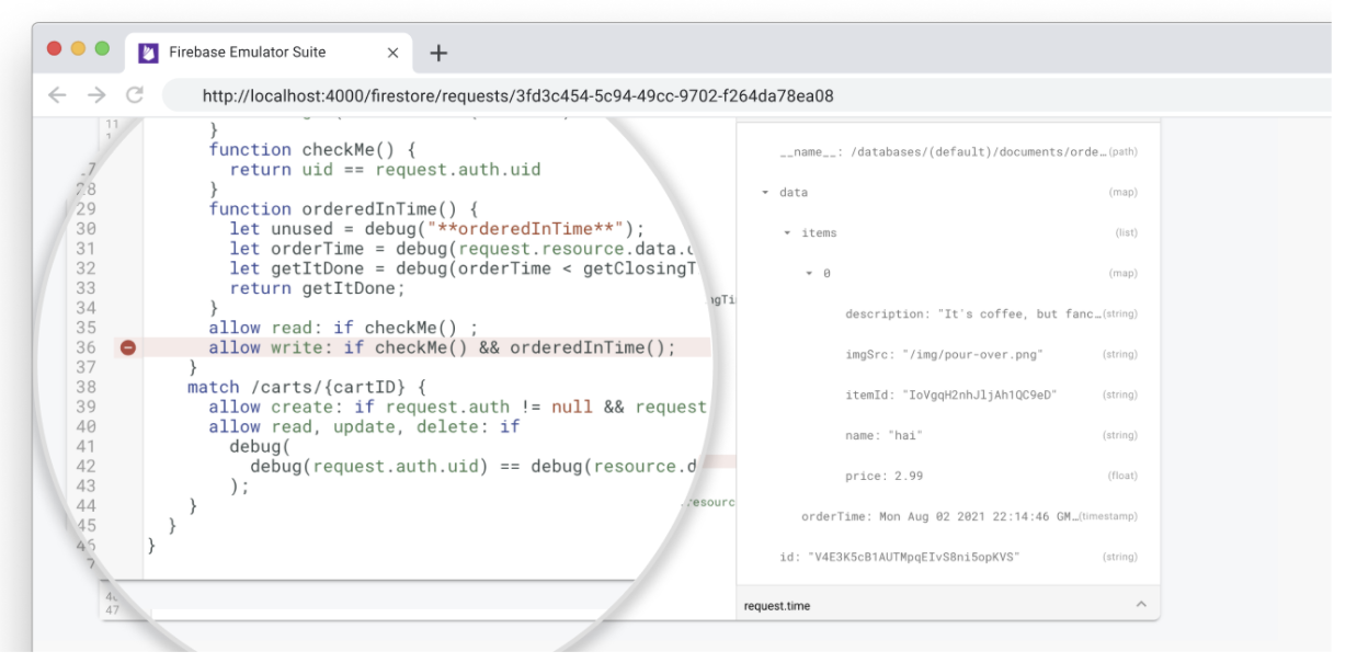 Firestore Emulator Requests Monitor showing Security Rules evaluations