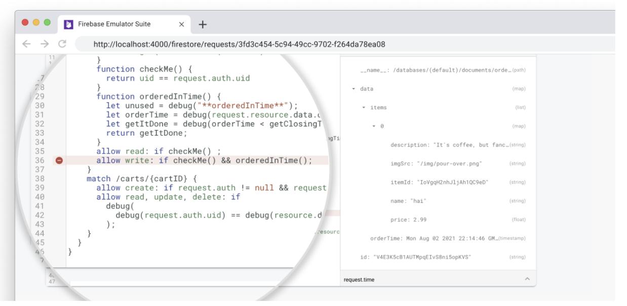 Firestore Emulator Requests Monitor แสดงการประเมินกฎความปลอดภัย