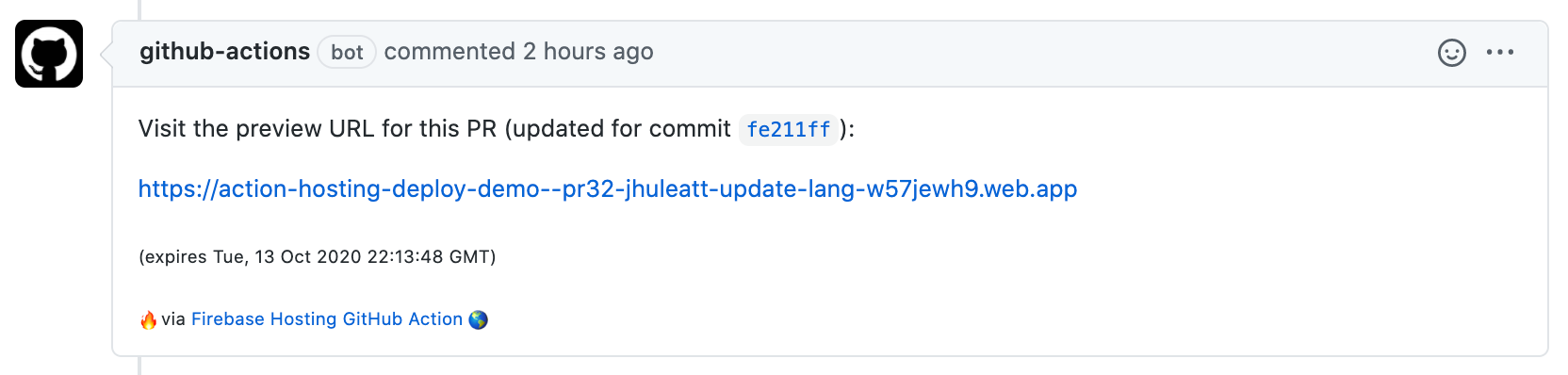 image of GitHub Action PR comment with preview URL