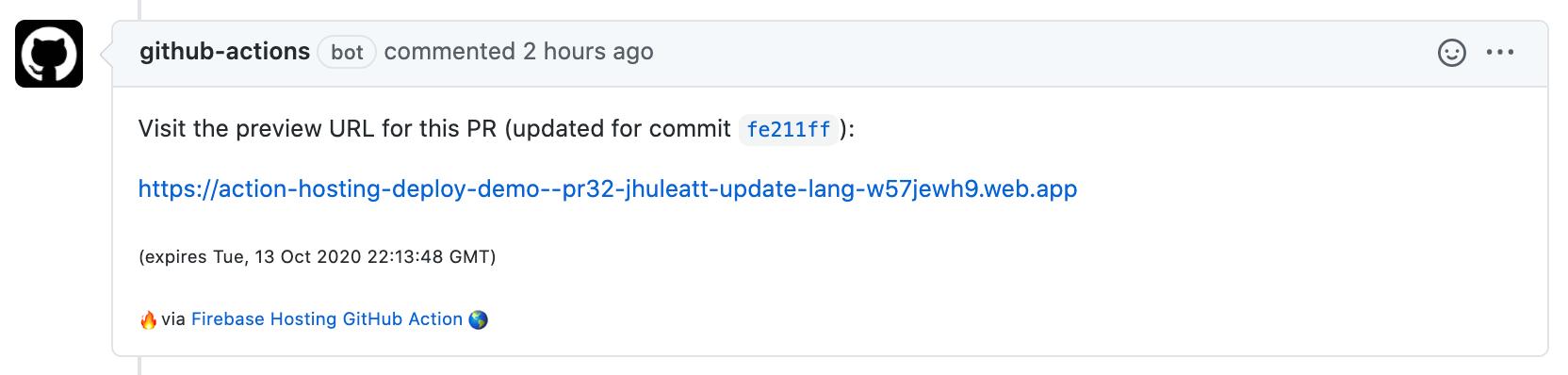 Önizleme URL'si ile GitHub Action PR yorumunun resmi
