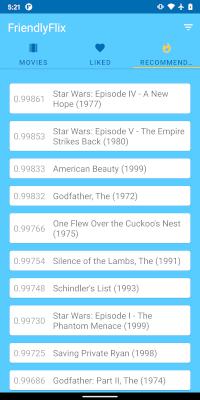 Capture d'écran de l'application de recommandation de contenu