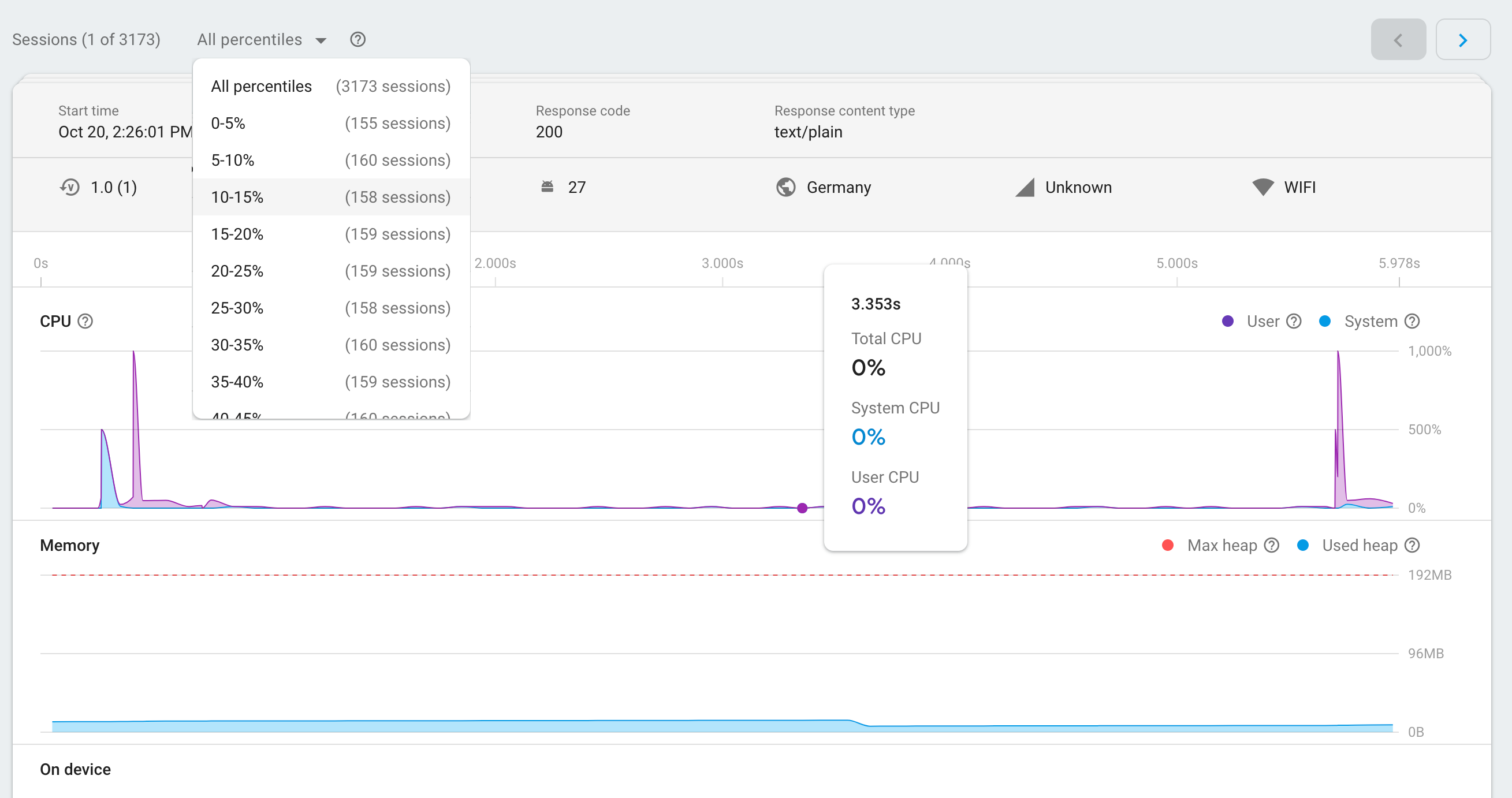 an image of the Firebase Performance Monitoring sessions page