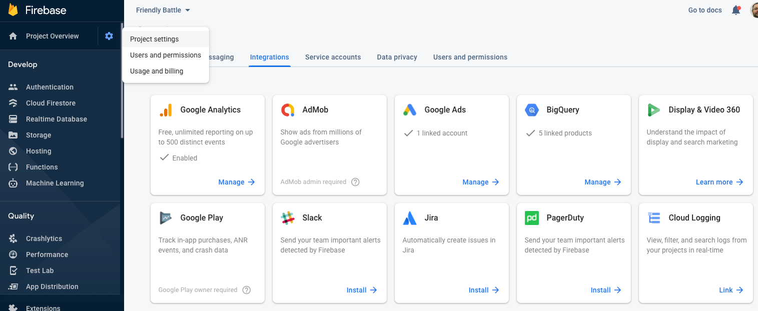 Integrations screen in the Firebase console