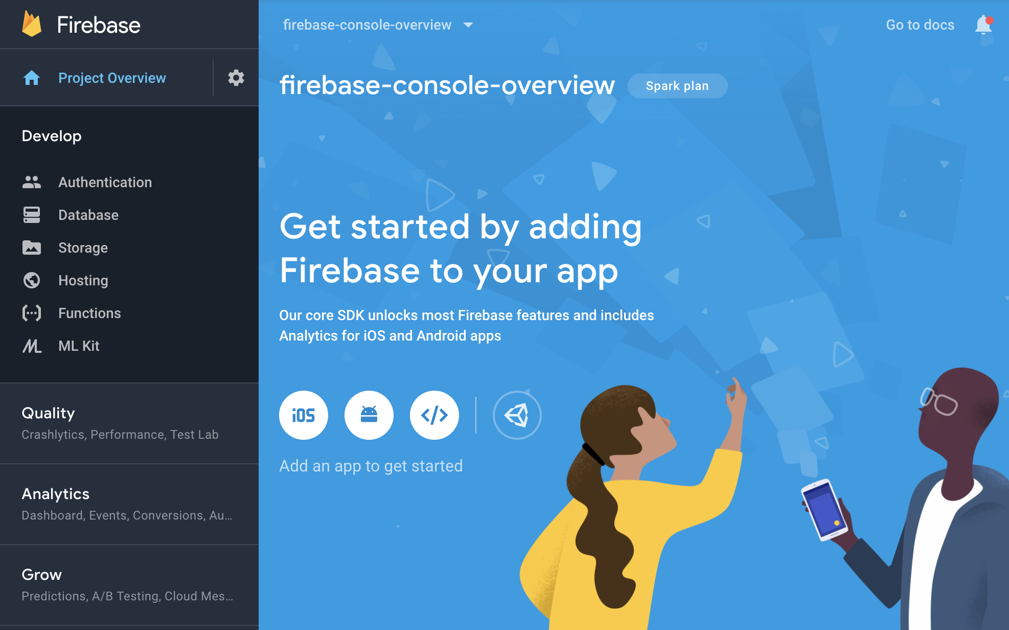 Pantalla de descripción general del proyecto en Firebaseconsole