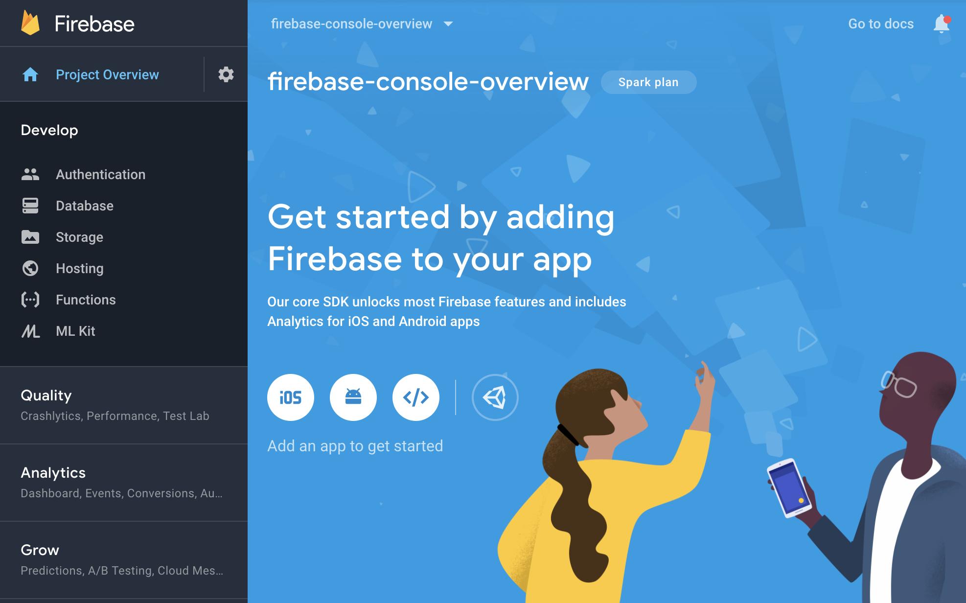 Console Firebase - écran de présentation du projet