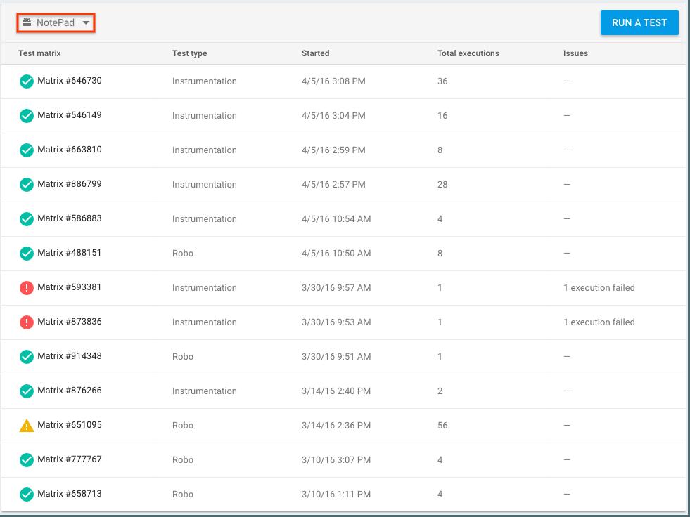 Lista de matrices de prueba