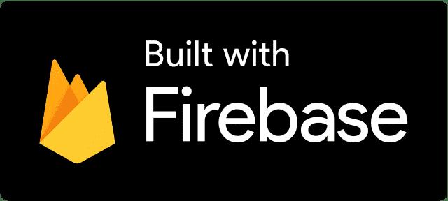 Criado com o Firebase - Logotipo negativo