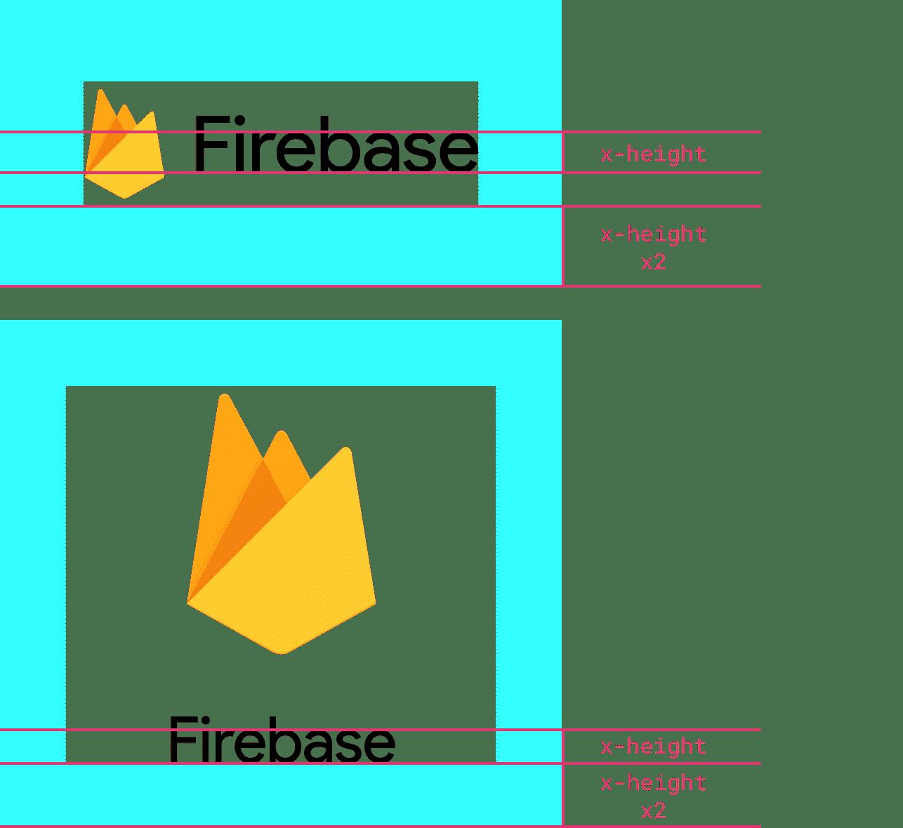 Ejemplos del logotipo de Firebase con al menos el doble de altura que el logotipo