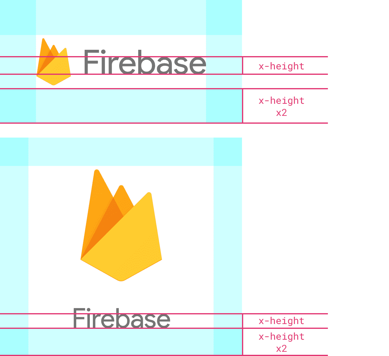 Firebase logo examples with at least twice the height of the logo