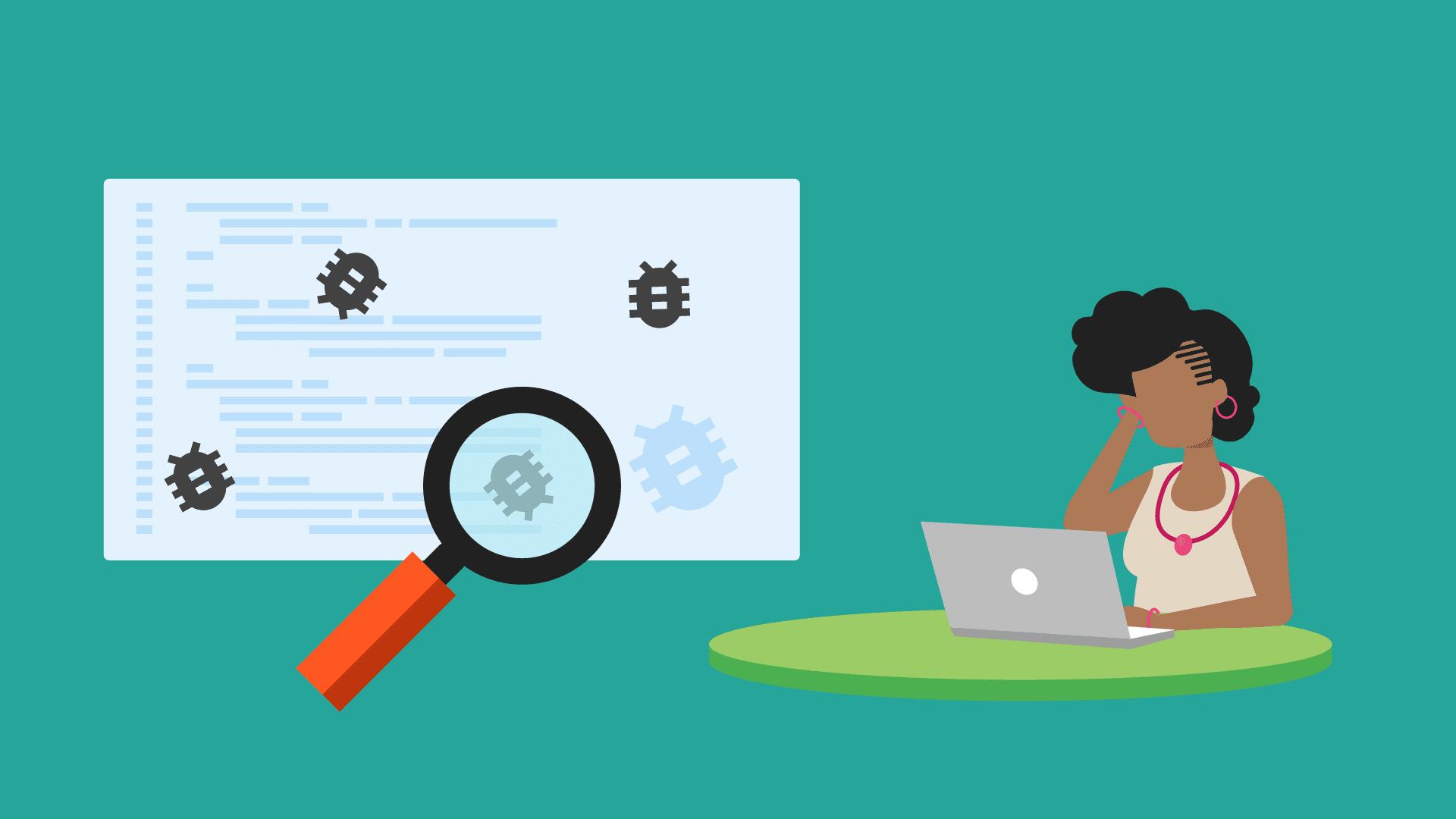 Ilustração de um desenvolvedor encontrando bugs