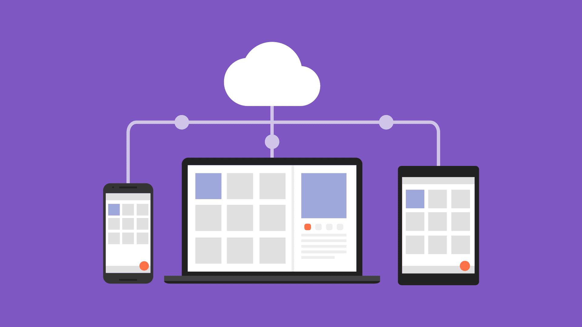 Ilustração de dispositivos móveis e laptops