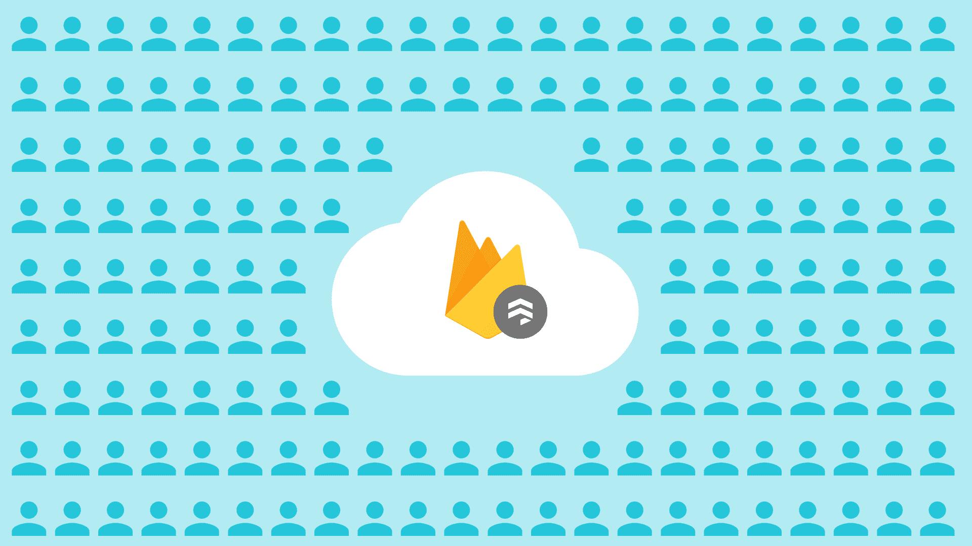 Ilustração do logotipo do Firebase Firestore e de membros do público
