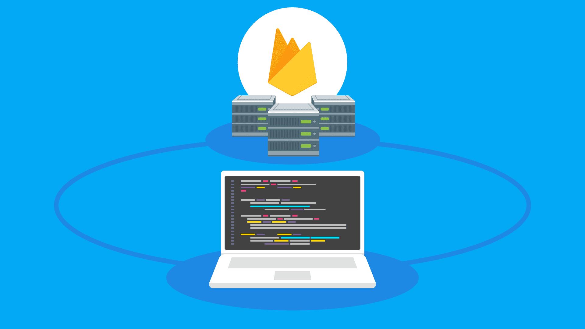 Ilustración de servidores y una laptop