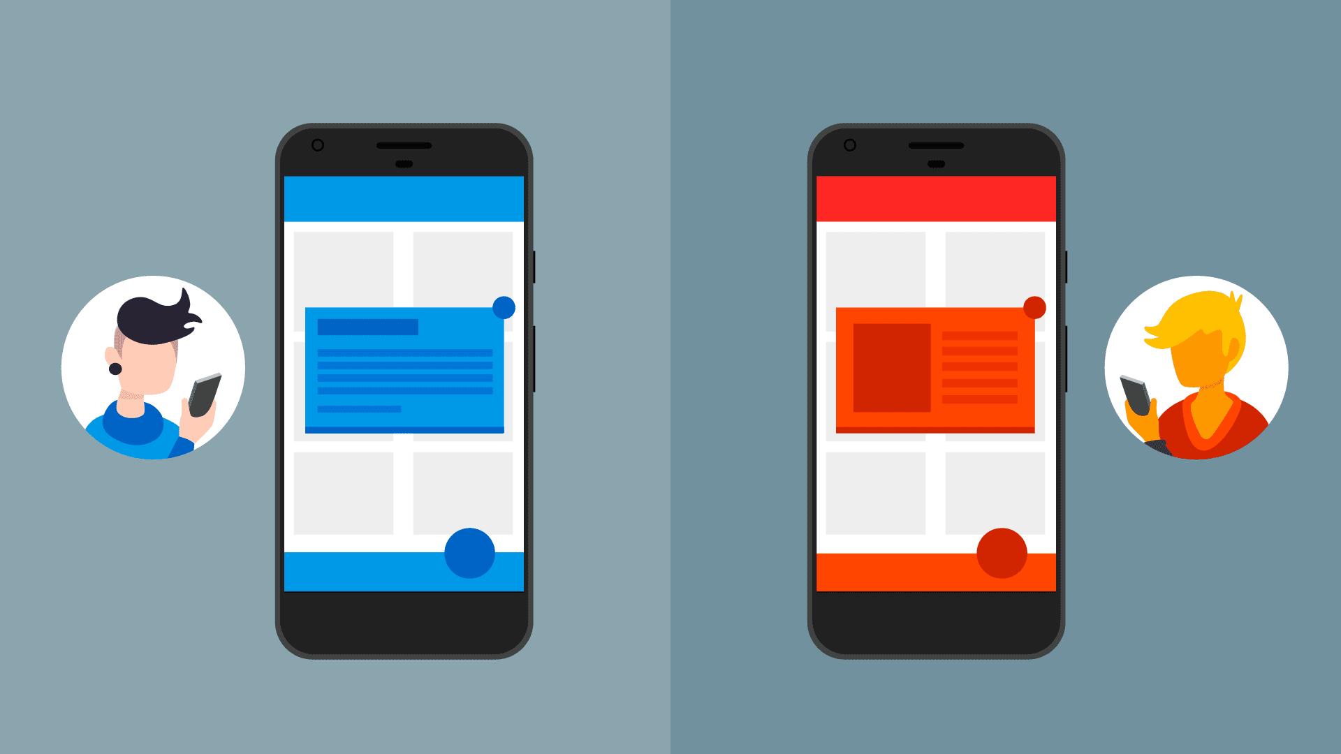שתי הודעות בתוך האפליקציה עם סגנונות שונים
