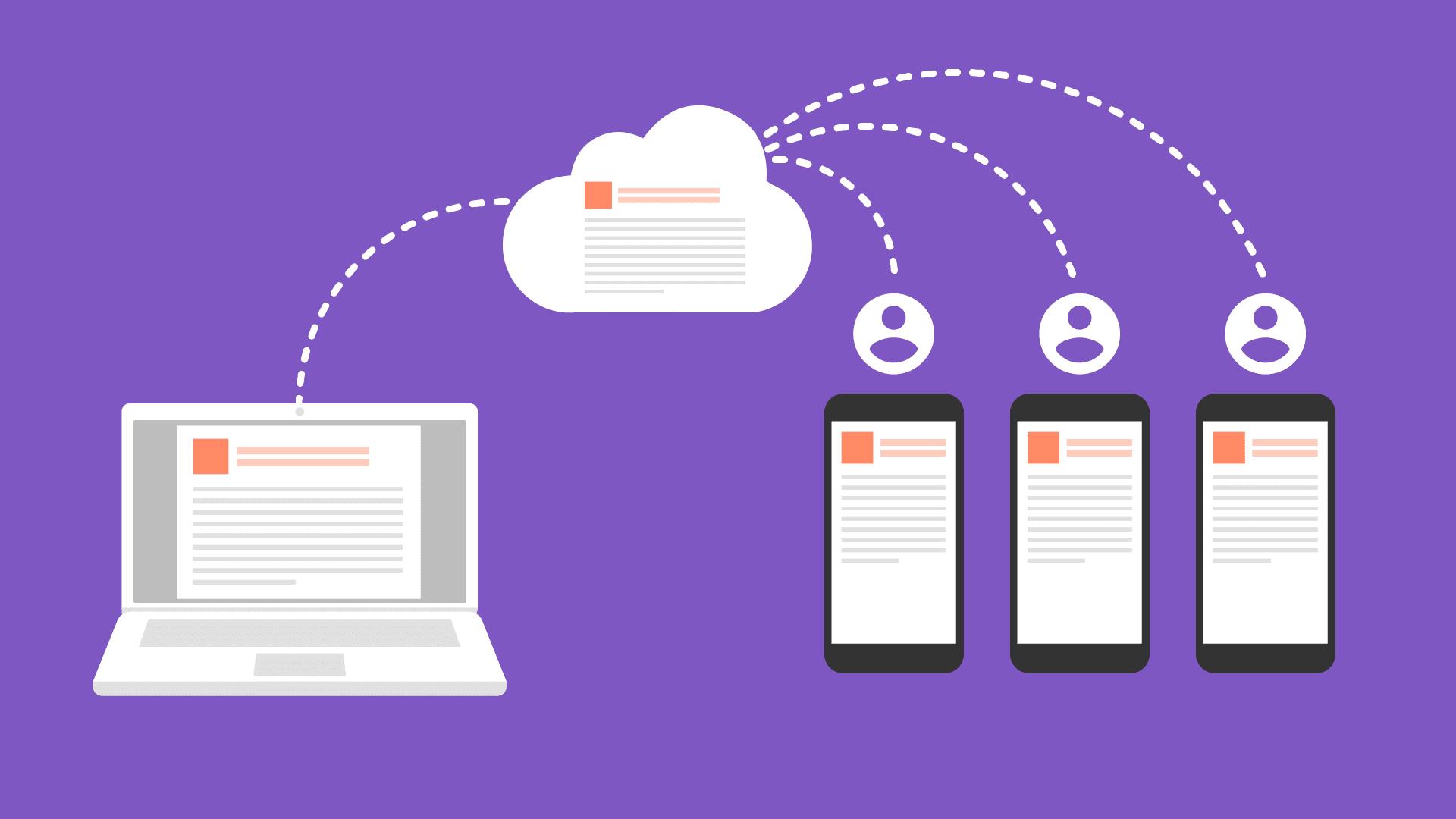 Ilustración de sincronización de datos en la nube con clientes