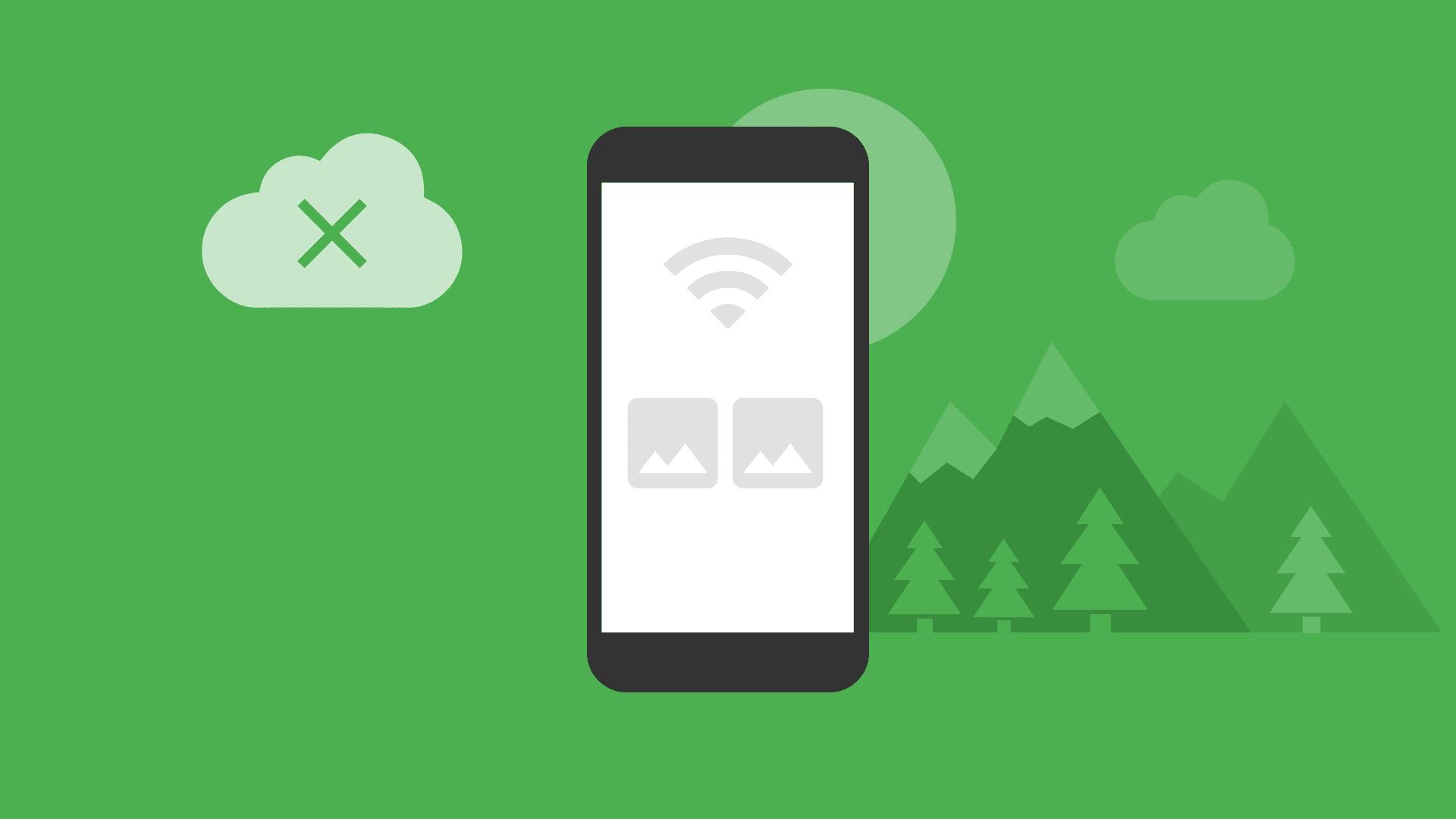 Phone screen showing offline status