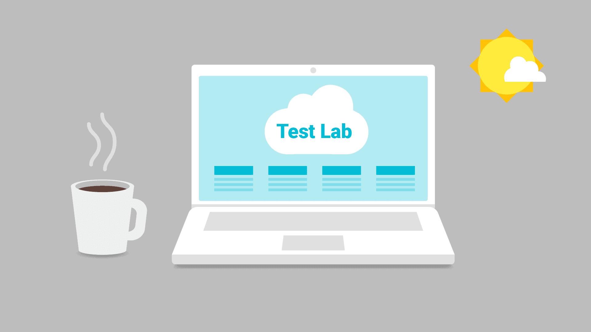 Laptop con TestLab en la pantalla