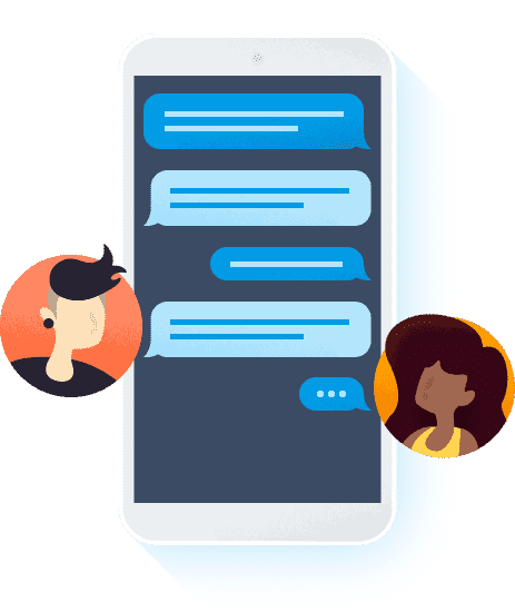 Illustration of people messaging